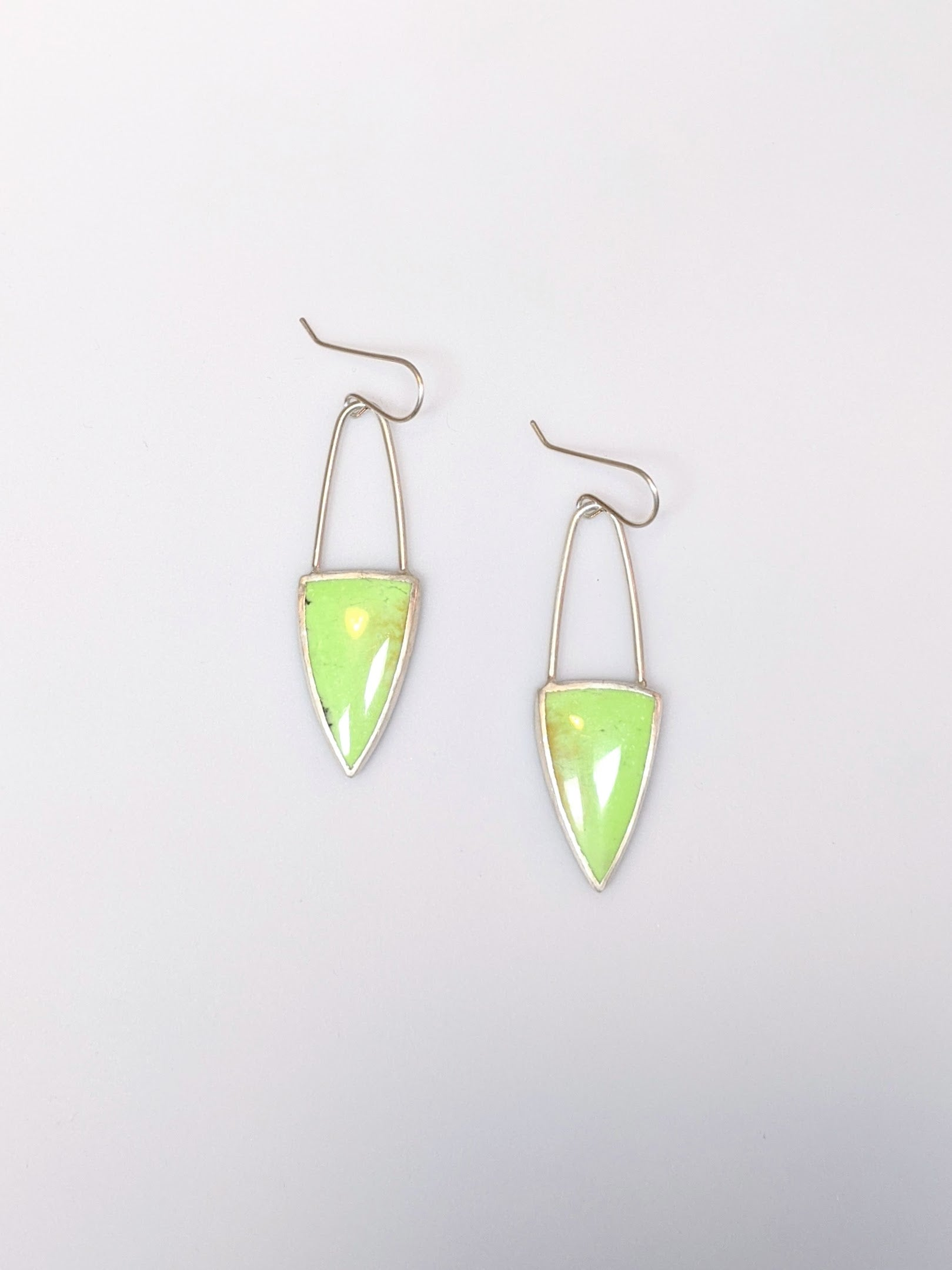 Australian Citron Chrysoprase Triangle Earrings