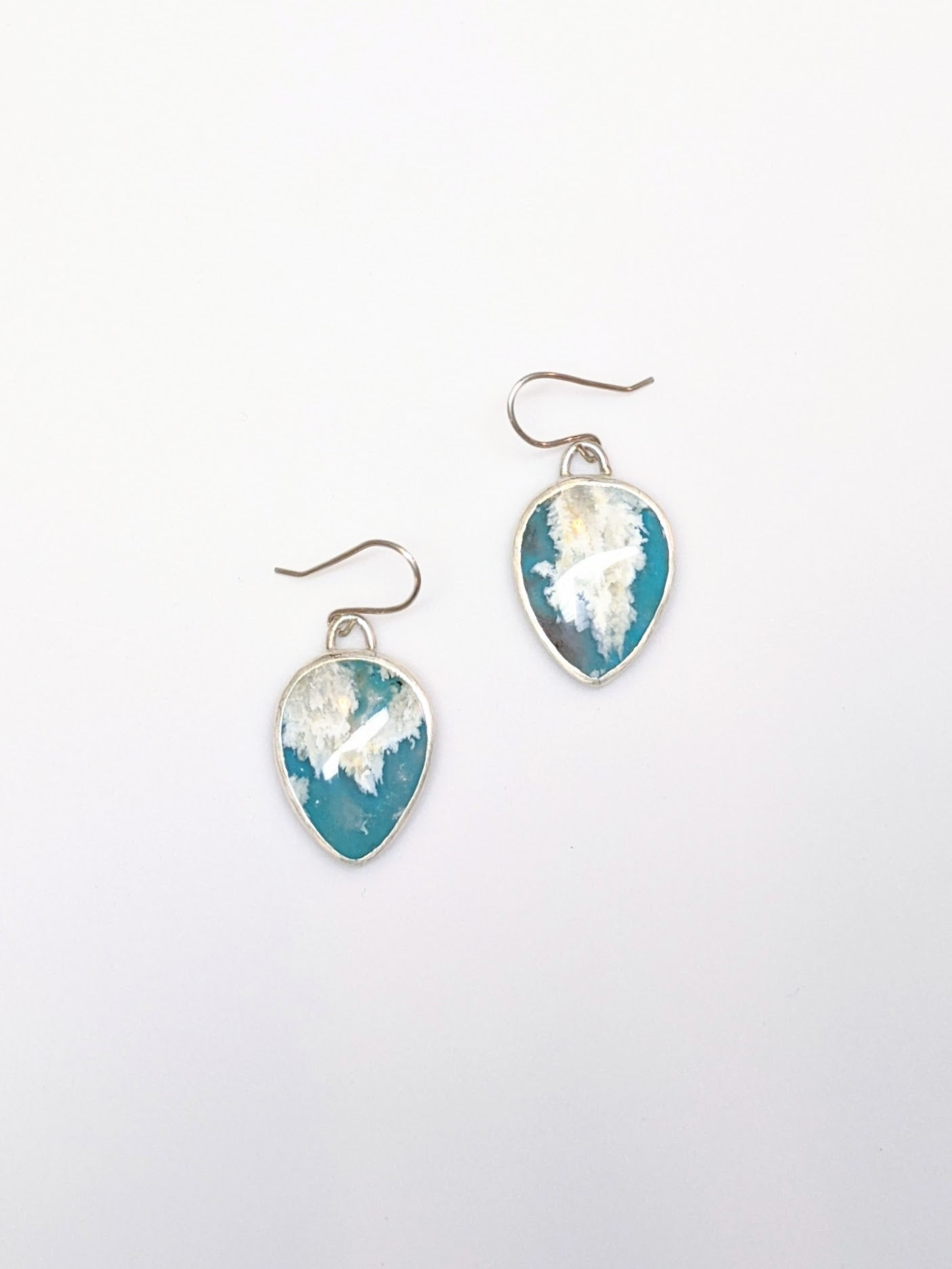 Turquoise & Coral Sea Agate Cloud Earrings