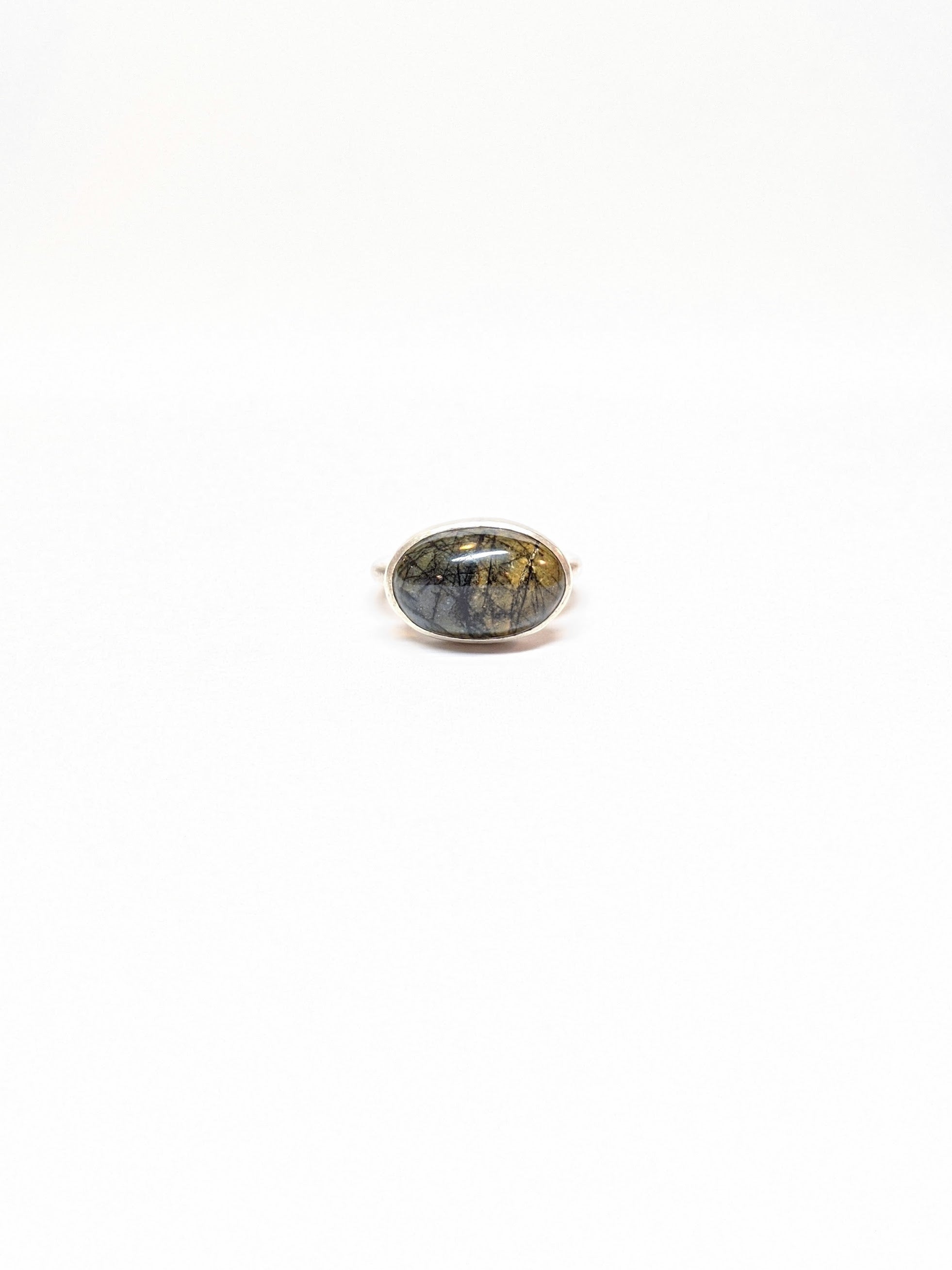 California Blue-Green Jasper Oval Ring - Size 7.5