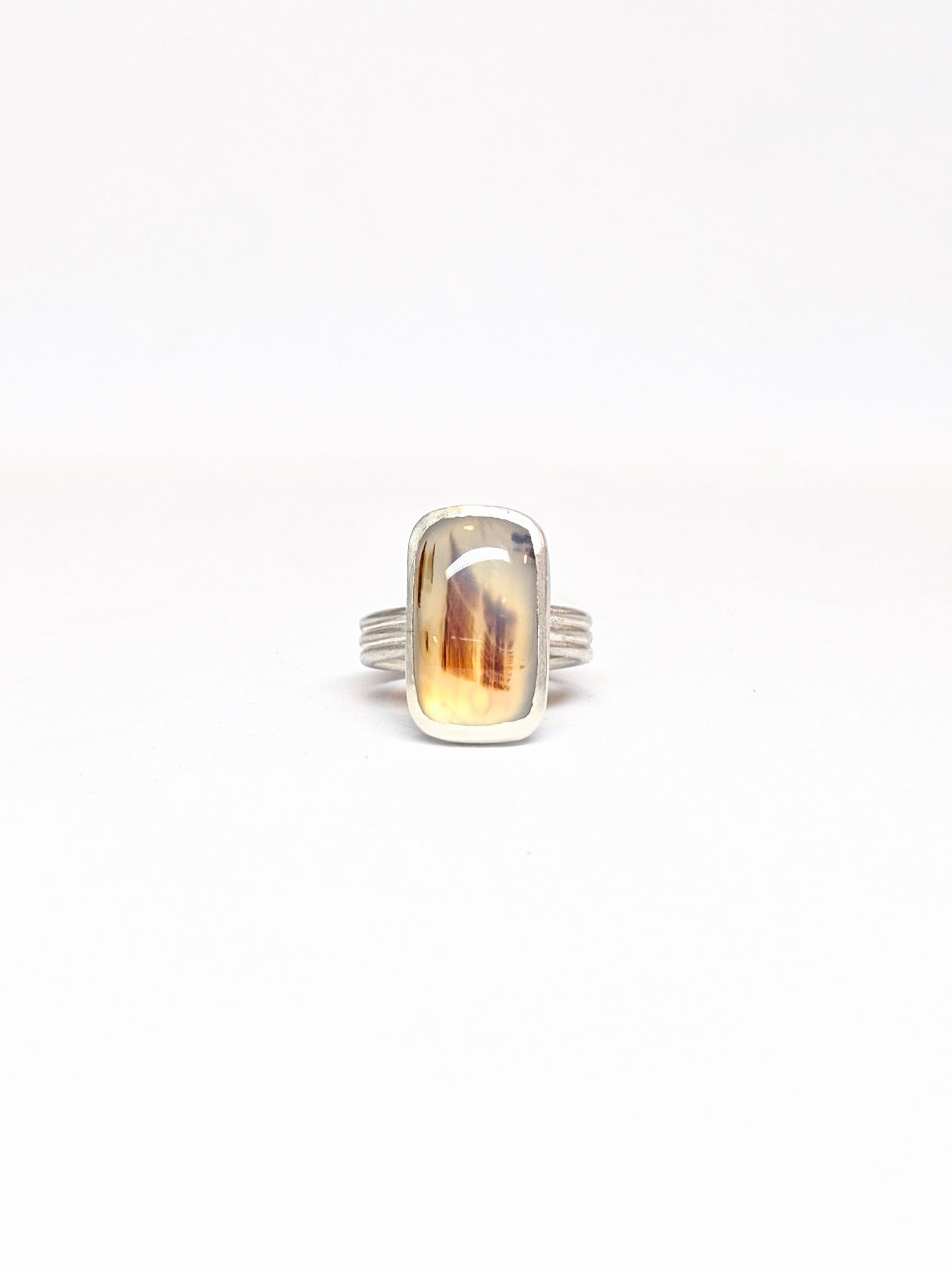 Montana Agate Triple Band Ring - Size 5.25