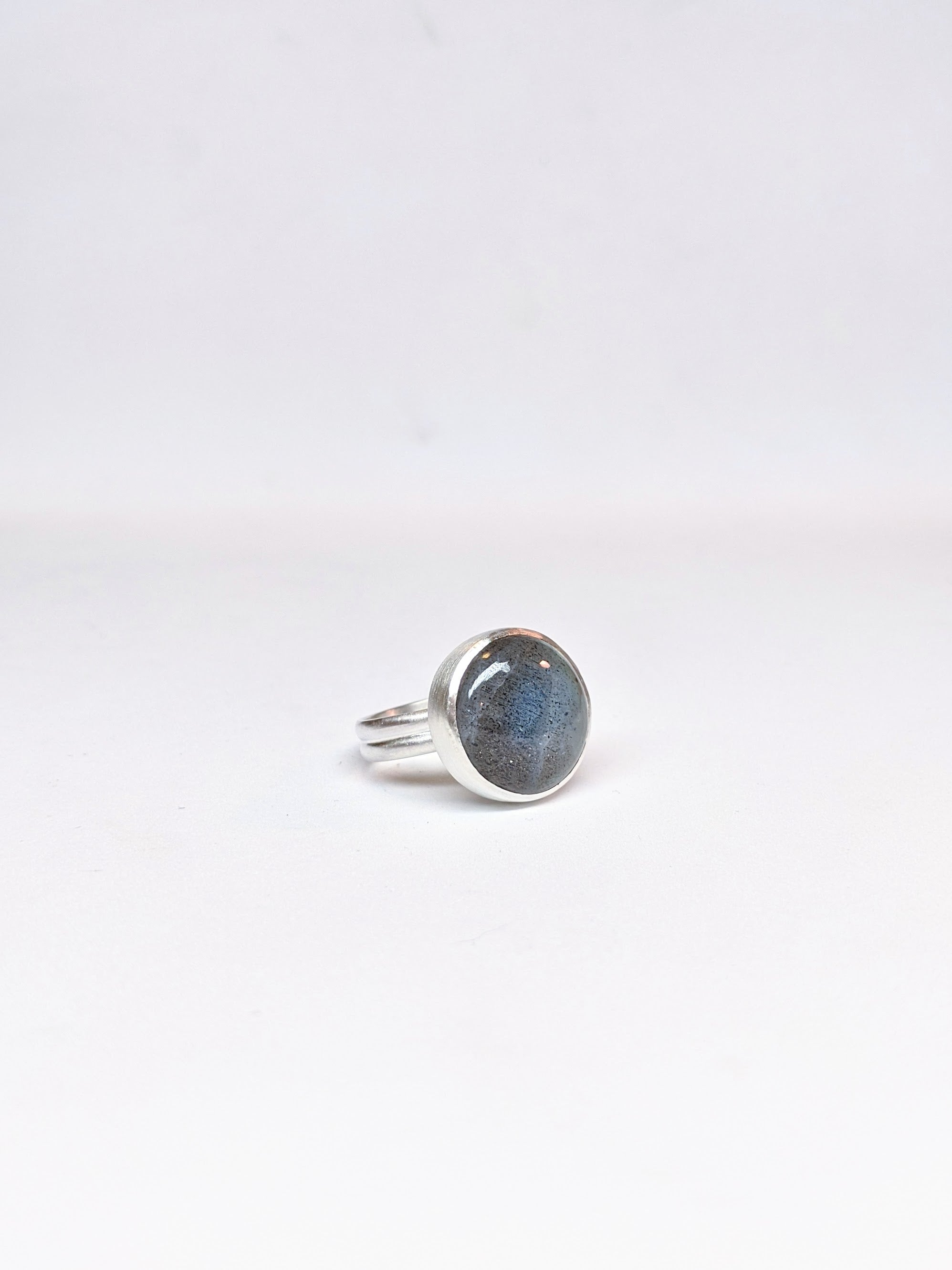 Round Labradorite Double Band Ring - Size 5.5
