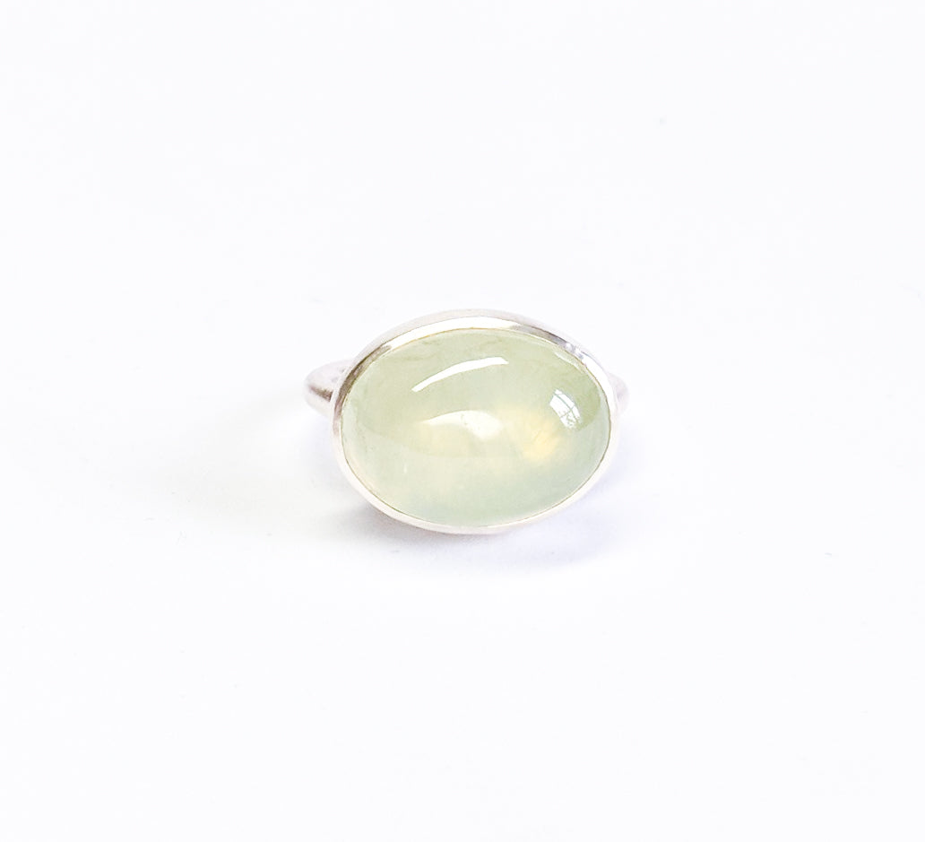 Apple Green Oval Prehnite Ring