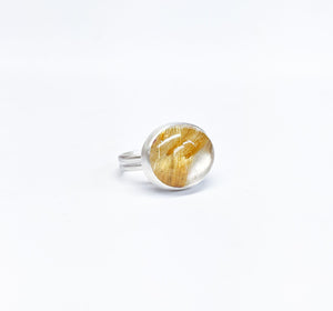 Golden Rutilated Quartz East West Ring