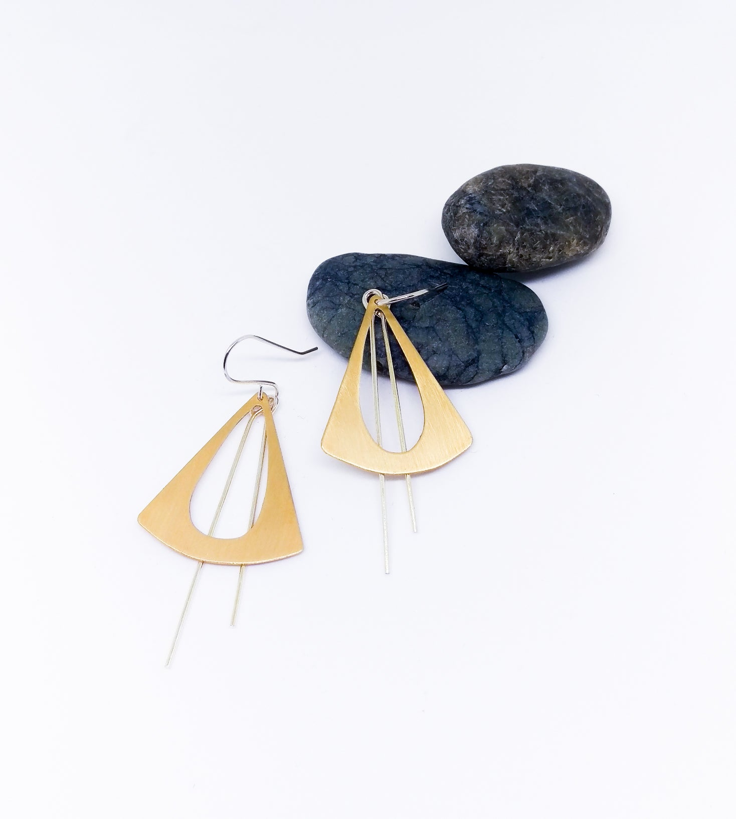 Brass & Silver Geometric Statement Earrings