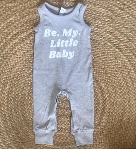 Be My Little Baby Tank Romper: Heather Grey Size 6-12M