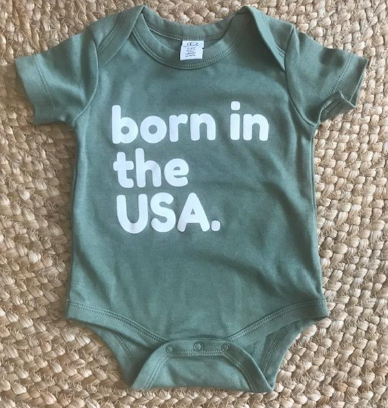 Born in the usa sage green onesie: 3-6months