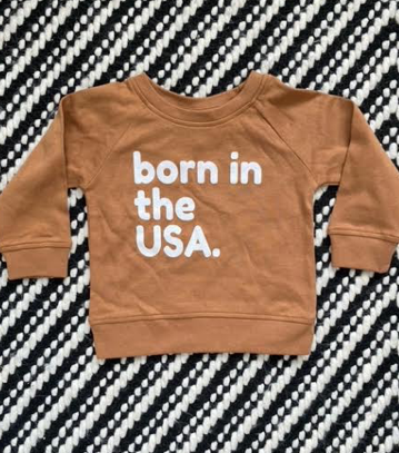 Born In The USA Crew Neck Sweatshirt: Ginger