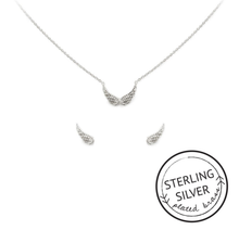Guardian Angel Necklace & Earring Set: SILVER