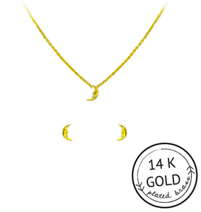 Moon Child Necklace & Earrings Set: GOLD