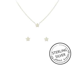 You're A Star Necklace & Earrings Set: SILVER