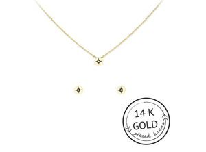 Compass Necklace & Earrings Set: GOLD