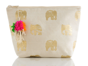 Ella Elephant Cosmetic Pouch: GOLD