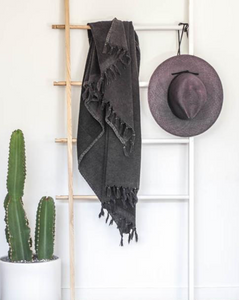 KAYRA TERRY TURKISH TOWEL: VINTAGE BLACK