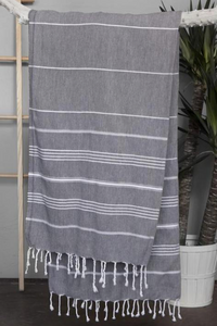 Authentic Light Turkish Towel: DARK GREY