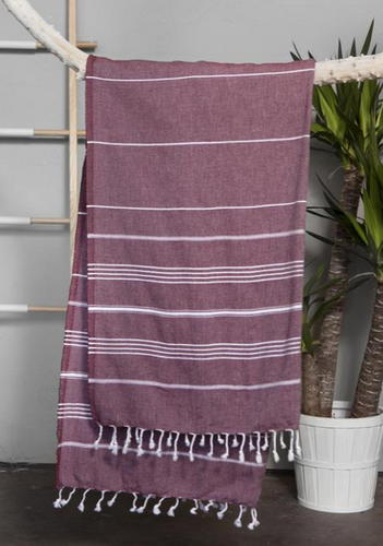 Authentic Light Turkish Towel: Burgundy