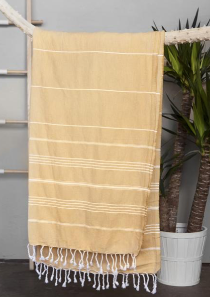 Authentic Light Turkish Towel: MUSTARD