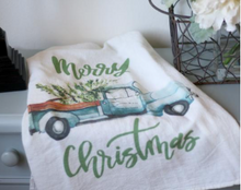 Christmas Truck Flour Sack Tea Towel