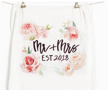 Mr and Mrs Est. 2018 Flour Sack Tea Towel