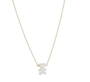 Teddy Bear Opal Necklace: GOLD & SILVER CHAIN