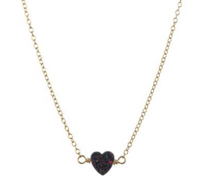 Heart Opal Necklace- Black