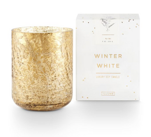 Winter White Luxe Sanded Mercury Glass Candle (With Giftbox)