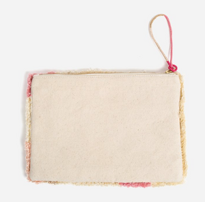 Cream Geometry Large Tufted Pouch