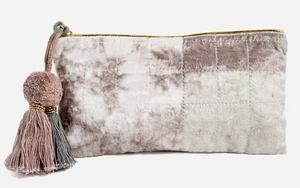 Grey Bundle Dye Velvet Medium Pouch
