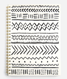 Painted Geometry, Cream Large Wire-bound Notebook