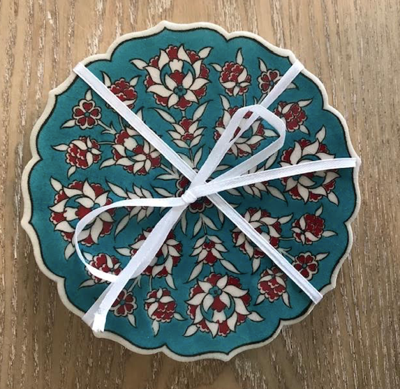 Turkish Handmade Coaster: Turq/Red/White