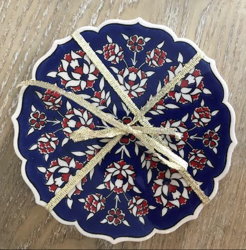 Turkish Handmade Coaster: Navy/Red/White