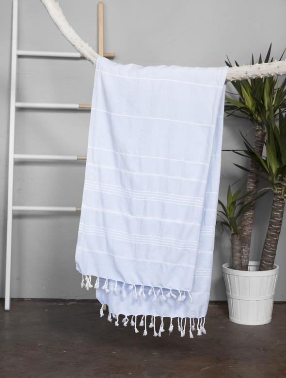 Authentic Light Turkish Towel: BABY BLUE