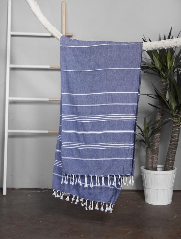 Authentic Light Turkish Towel: NAVY