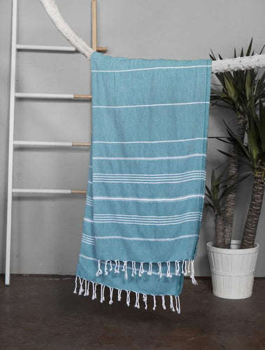 Authentic Light Turkish Towel: TURQUOISE