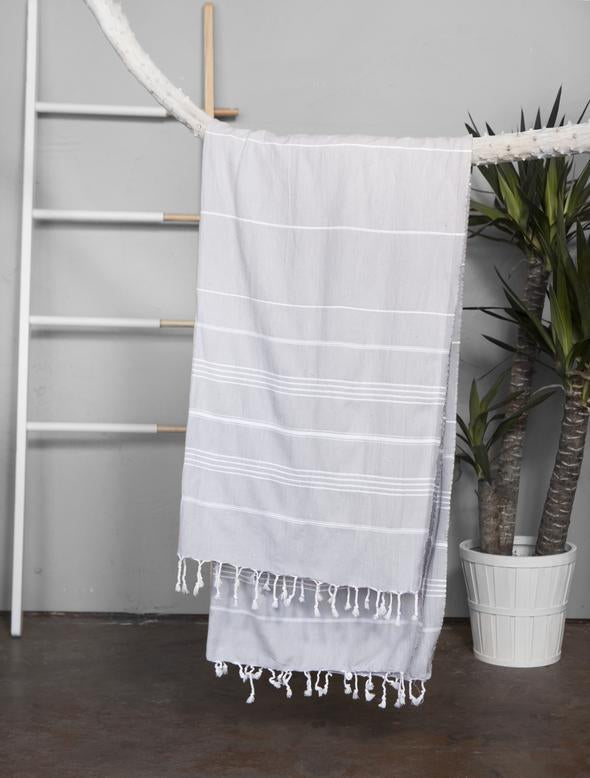 Authentic Light Turkish Towel: LIGHT GREY