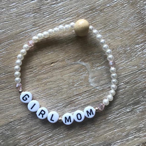 Girl Mom Pearl Bracelet with gold accents