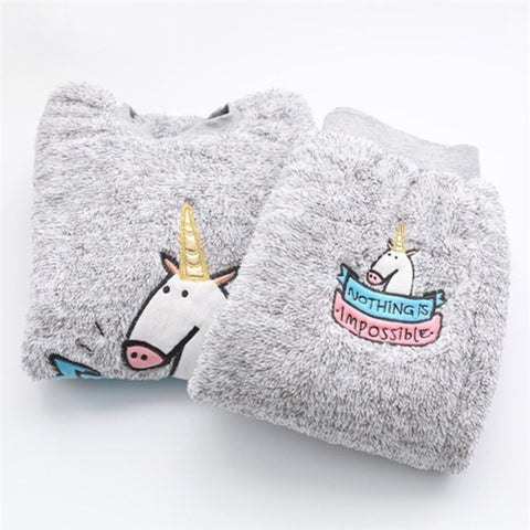 Autumn winter Woman Kawaii Unicorn Fleece pajamas Set, Thick Plush Pajama Sleep suit