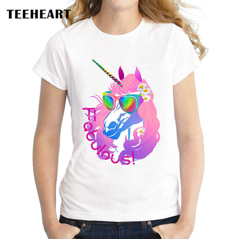 TEEHEART brand Sunglasses unicorn cat print T Shirt women's short sleeve cute tops tees px970