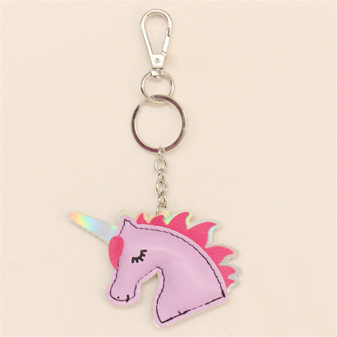 Leather Unicorn Keychain Metal Key Ring