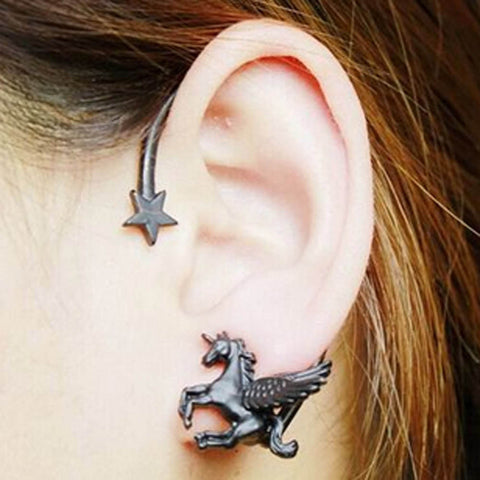 Punk Rock  Unicorn Star Lady Stud Earring For Left Ear