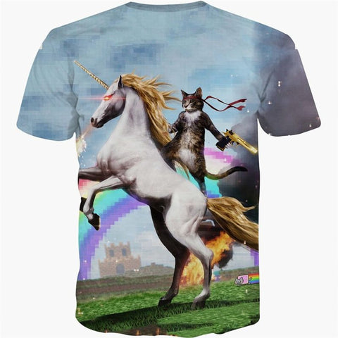 New Unicorn Cat Battles T Shirt