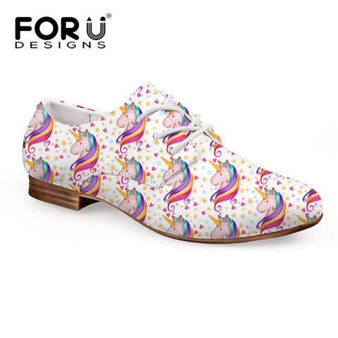 Women's Pink Fashion Unicorn  Oxfords  Leather Shoes