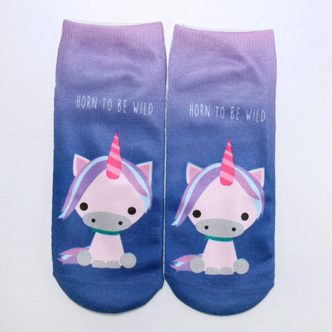Hot Sale 3D Print Unicorn Cute Casual Popular Ankle Socks in 13 Patterns