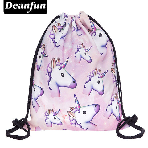 Unicorn Pattern Women Drawstring Bag