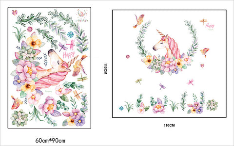 large size cartoon unicorn petal birds  stickers animal home decor living room bedroom decals wallpaper Children wall stickers