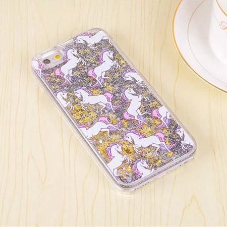 LACK Cartoon Unicorn Horse Dynamic Paillette Glitter Stars Water Liquid Case for iPhone 5 5s SE Hard plastic Covers Phone Case