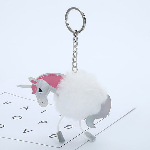 Fluffy Horse  Key chain Pom Pom