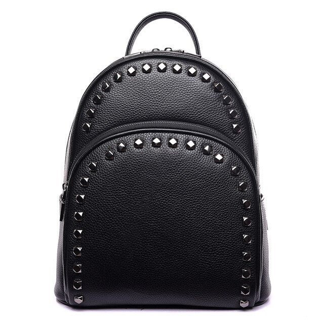 Fashion Rivet Genuine Leather Women Backpack Brand Cow Leather Backpack Female Large Capacity School Bags for Teenage Girls 2019