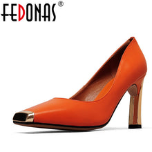 FEDONAS 2020 New Women Shoes Basic Style Fashion High Heels Metal Square Toe Office & Career Shallow Footwear Women Pumps