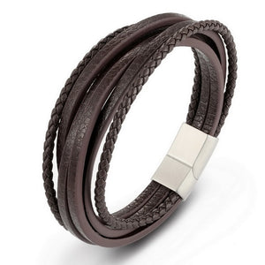 XQNI 2019 Fashion Stainless Steel Chain Genuine Leather Bracelet Men Vintage Male Braid Jewelry for women