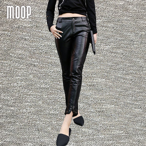 Black genuine leather pants 100% lambskin splice pencil pants rivet decor stretch trousers pantalon femme pantalones mujer LT832